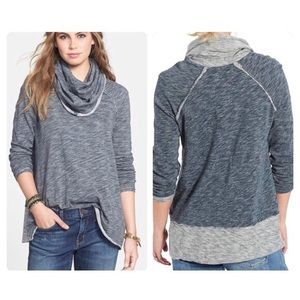 Anthropologie 💕Jacquard Cowl Knit Sweater Navy